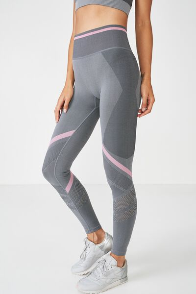 Banded Seamfree Tight, MID GREY MARLE