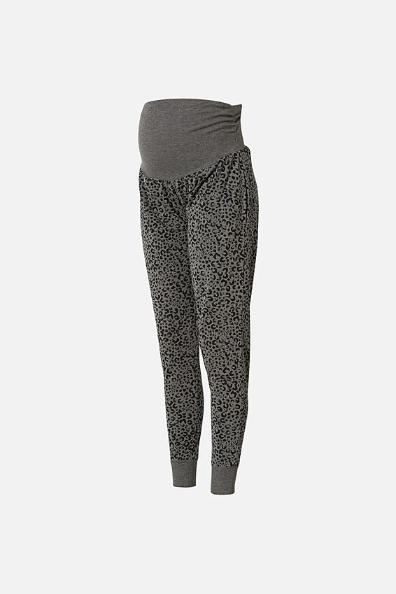 Maternity Drop Crotch Studio Pant, CHARCOAL LEOPARD