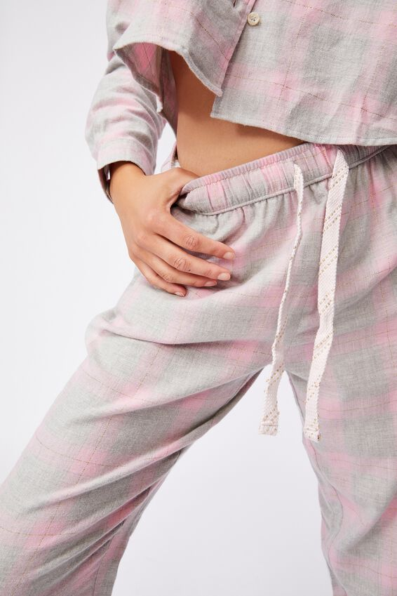 Flannel Sleep Pant, GREY MARLE PINK CHECK