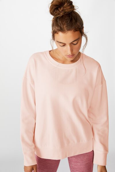 Long Sleeve Fleece Crew Top, WINTER PINK SHERBET