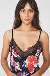 Lace Slinky Nightie, BOUQUET BLOOM BLACK