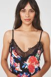 Lace Slinky Nightie, BOUQUET BLOOM BLACK
