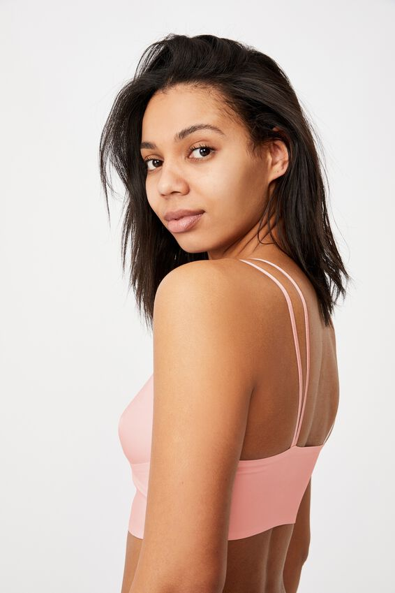 Everyday Bonded Longline Bralette With Cups, PEACH PARFAIT