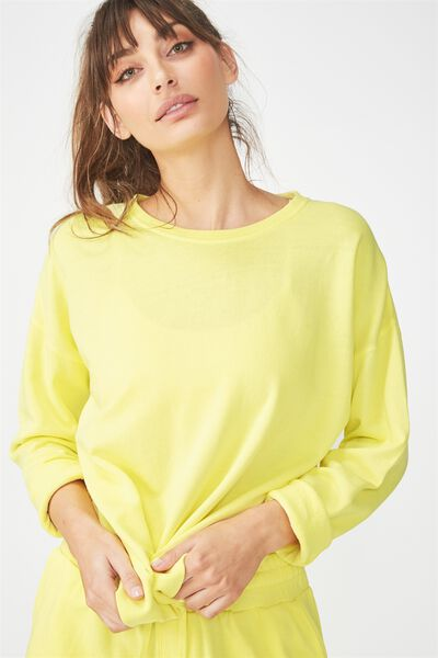 Active Crew Long Sleeve Top, SUNFLOWER YELLOW
