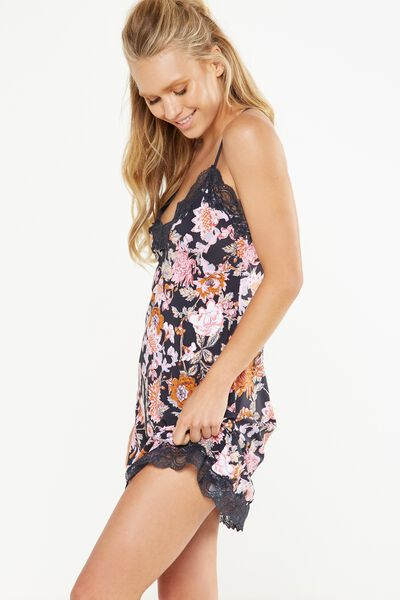 Lace Back Slinky Nightie, FUSION FLORAL/CHARCOAL