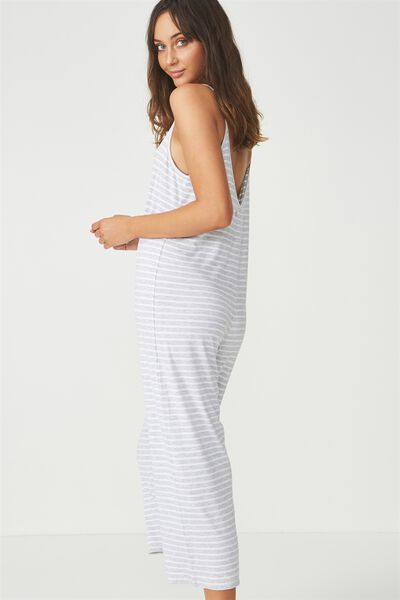 Sleep Recovery Strappy Jumpsuit, GREY MARLE STRIPE