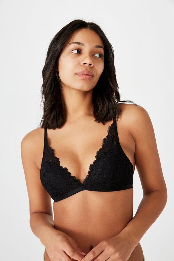 Ivy Lace Wirefree Bra, BLACK