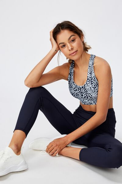 Workout Cut Out Crop, SCRATCHY ANIMAL/NAVY