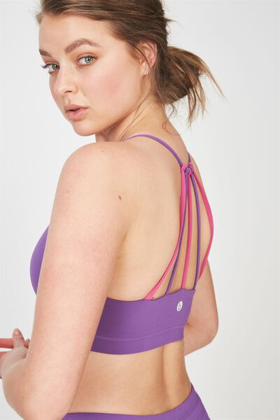 Essential Strappy Sports Crop, MULBERRY / VERY BERRY