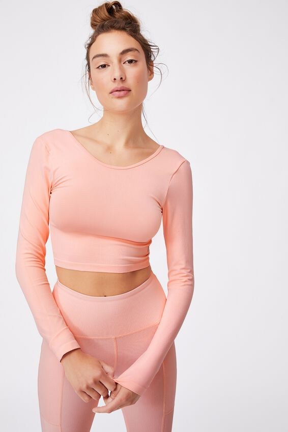 Lifestyle Seamless Open Back Long Sleeve Top, FAIRY TALE