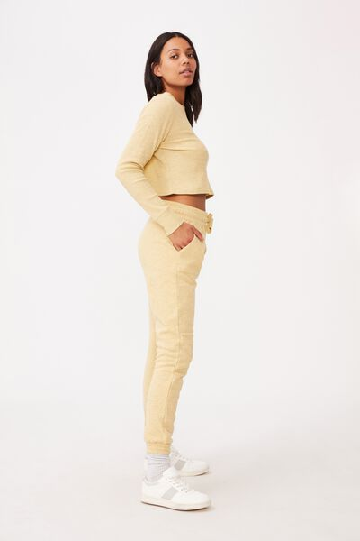 Gym Track Pants, MELLOW YELLOW MARLE
