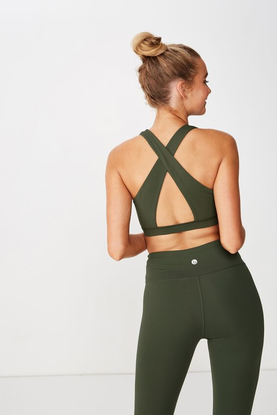 Workout Cut Out Crop, KHAKI
