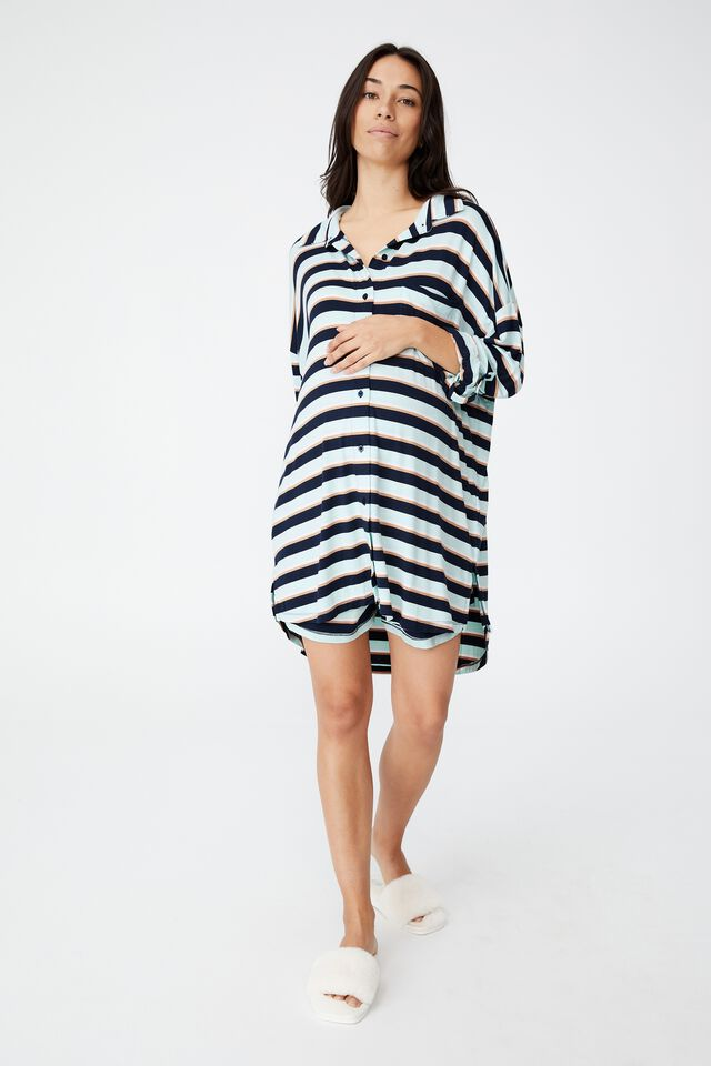 Sleep Recovery Maternity Night Shirt, PEPPERMINT STRIPE