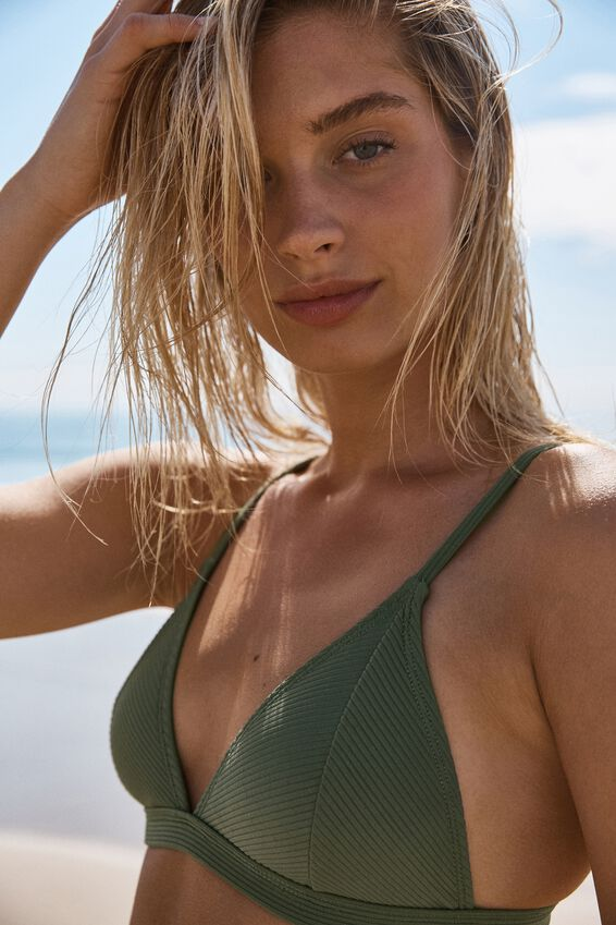 Fixed Triangle Bikini Top, COOL AVOCADO RIB