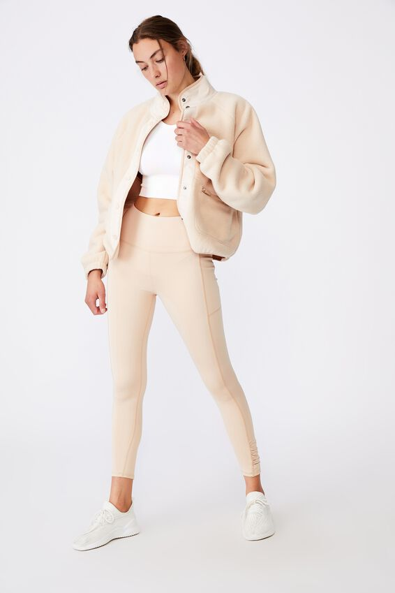 Warm Up Sherpa Jacket, CREME BRULEE