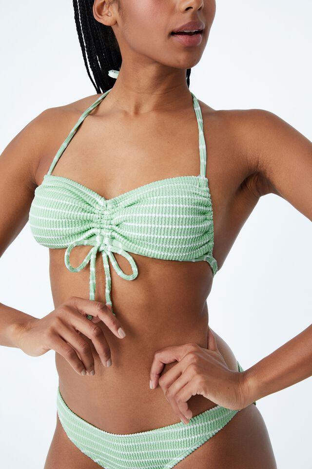 Gathered Backless Halter Bikini Top, MINT CHIP STRIPE CRINKLE