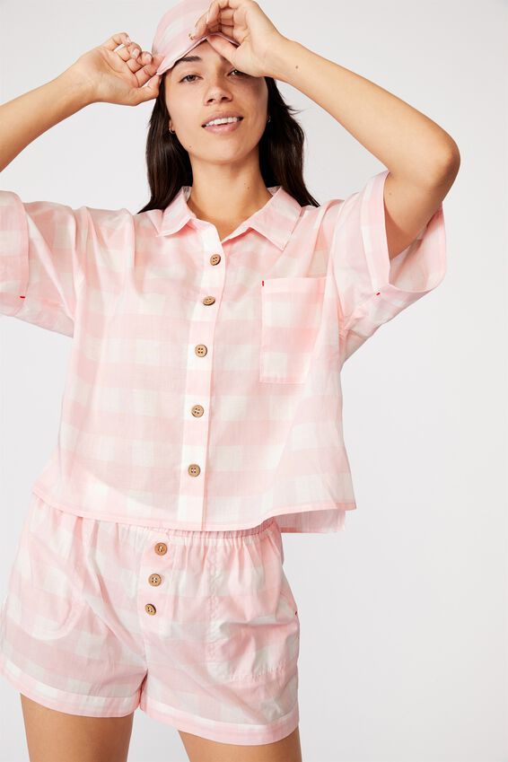 Washed Woven Sleep Set, GINGHAM CHECK