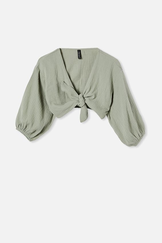 Knot Front Cropped Beach Shirt, KHAKI