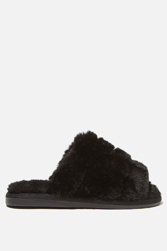 Fluffy Slide Slipper, BLACK