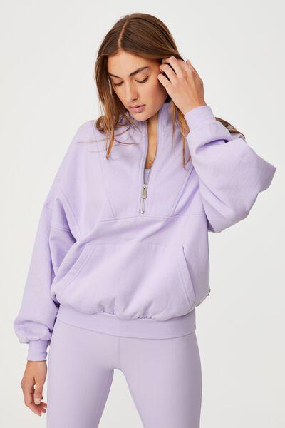Lifestyle Half Zip Fleece Top, LILAC DREAM