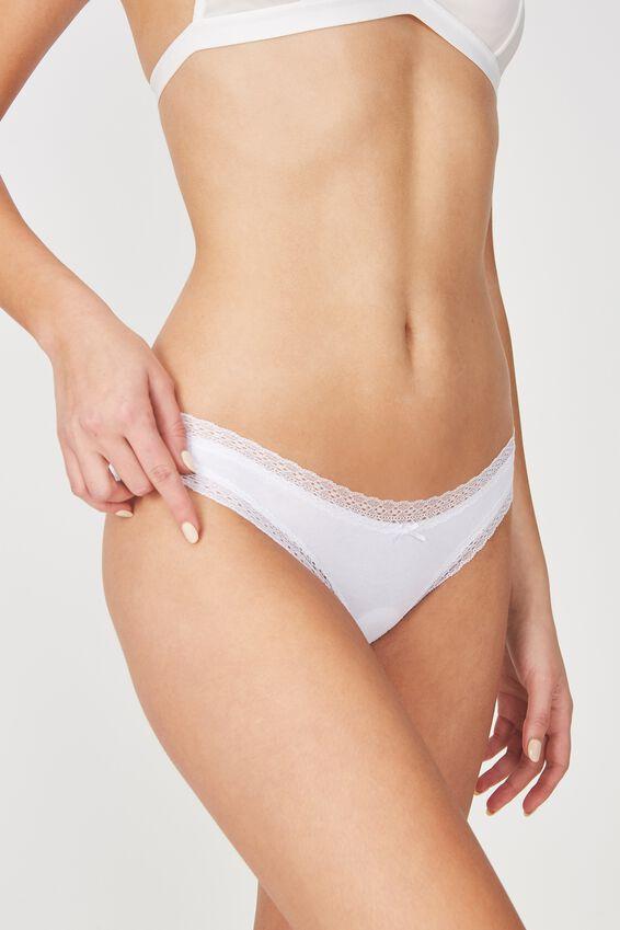 Cotton Rich Bikini Brief, WHITE