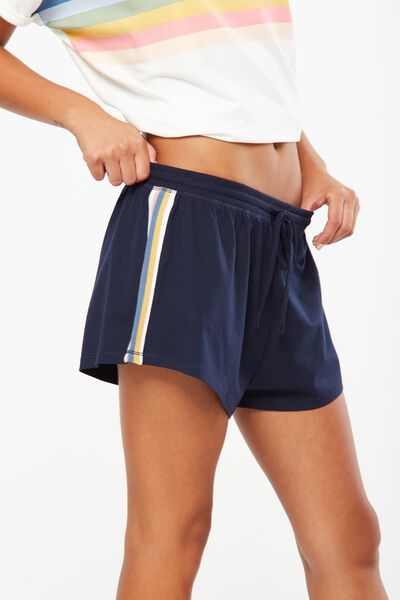 Match Back Short, NAVY BABY MARLE/STRIPE