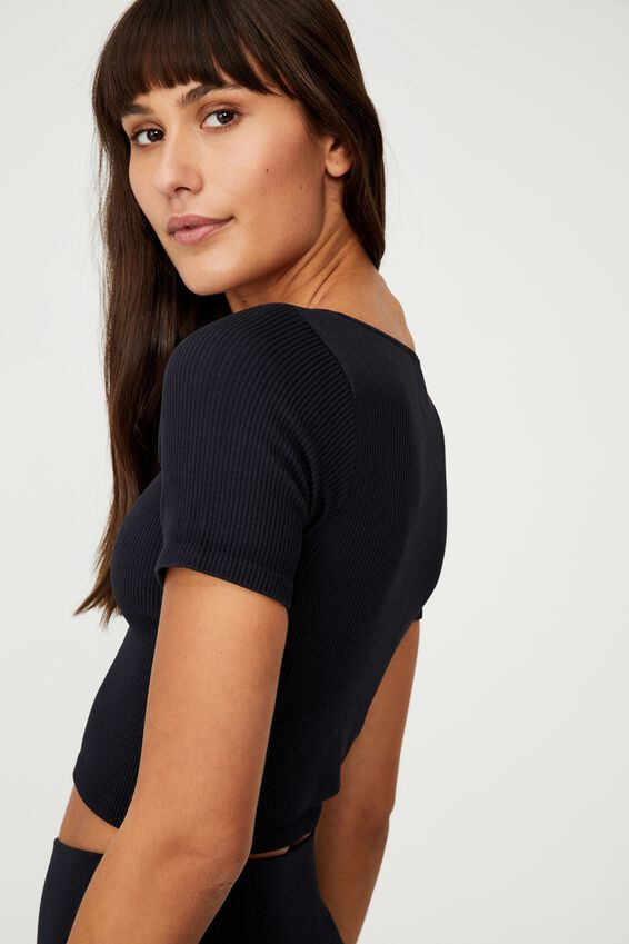 Square Neck Seamless Tshirt, BLACK