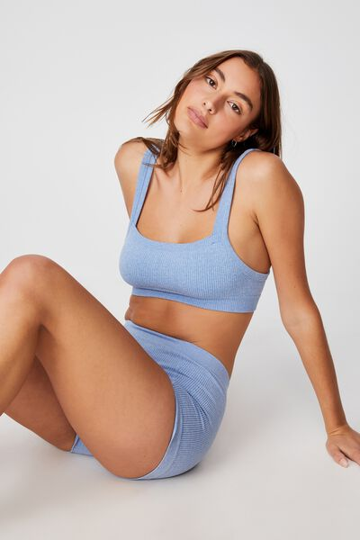 Seamless Chunky Straight Neck Crop, SILVER LAKE BLUE MARLE