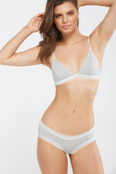 The Body Supersoft Bralette, GREY/CREAM STRIPE
