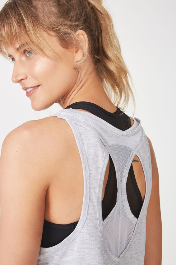 Double Back Racer Tank, GREY MARLE