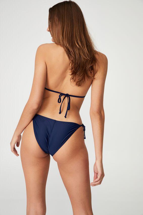 Tie Side Hipster Cheeky Bikini Bottom, NAVY