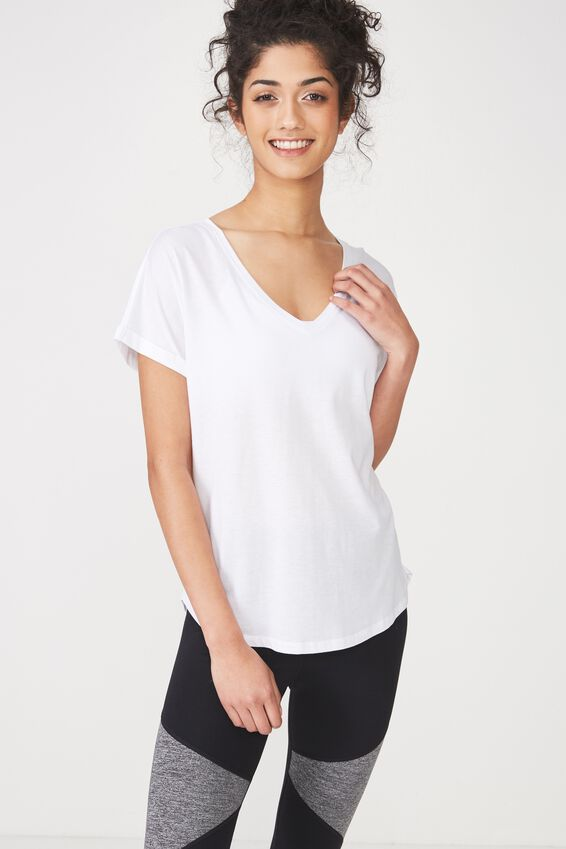 Rolled Sleeve Gym T Shirt, WHITE