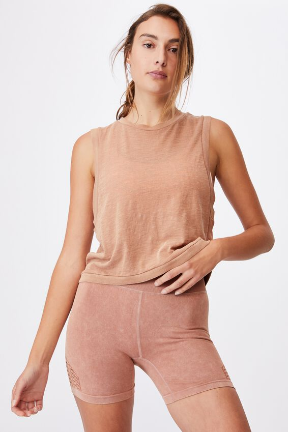 All Things Fabulous Cropped Muscle Tank, CASHEW WASH