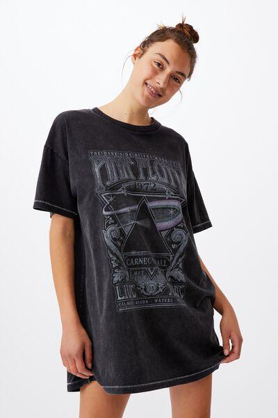 90 S Tshirt Nightie, LCN PER PINK FLOYD/WASHED BLACK