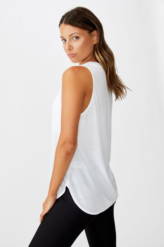 Personalised Active Curve Hem Tank, WHITE