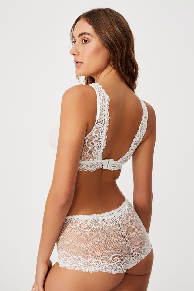 Ainsley Lace Unlined Plunge Bralette, CREAM
