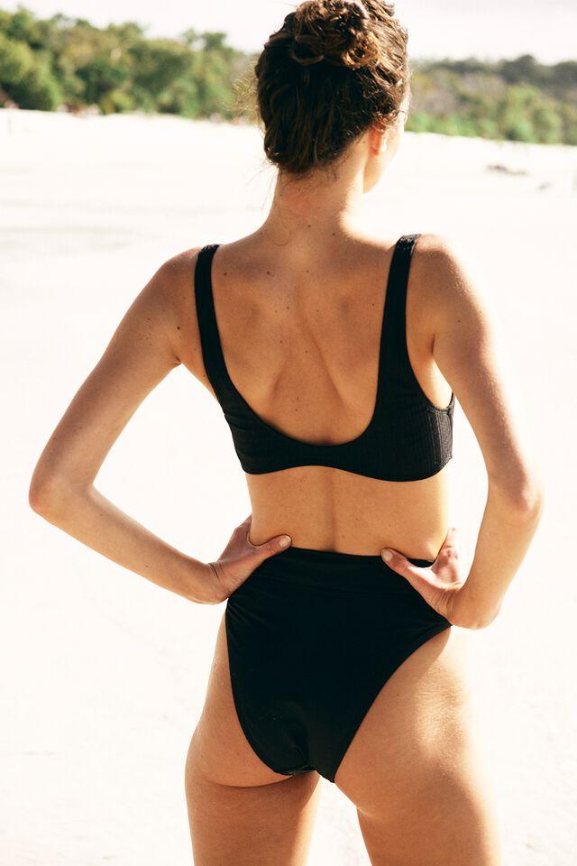 Highwaisted Cheeky Bikini Bottom, BLACK