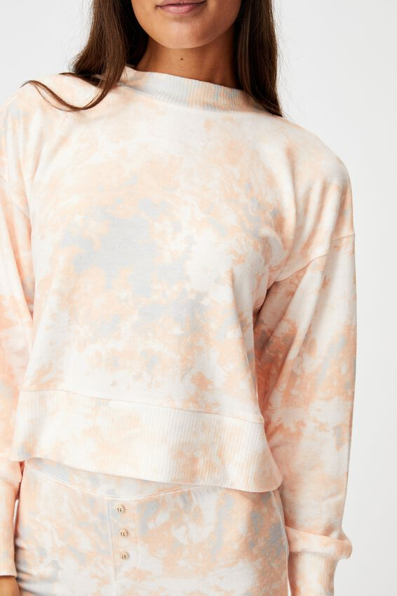 Super Soft Long Sleeve Crew, MARBLE TIE DYE ROSE
