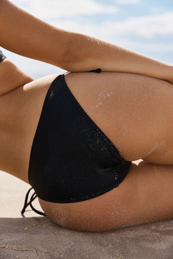 Tie Side Cheeky Bikini Bottom, BLACK RIB