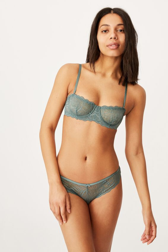 Summer Lace Balconette Strapless Bra, BONSAI GREEN