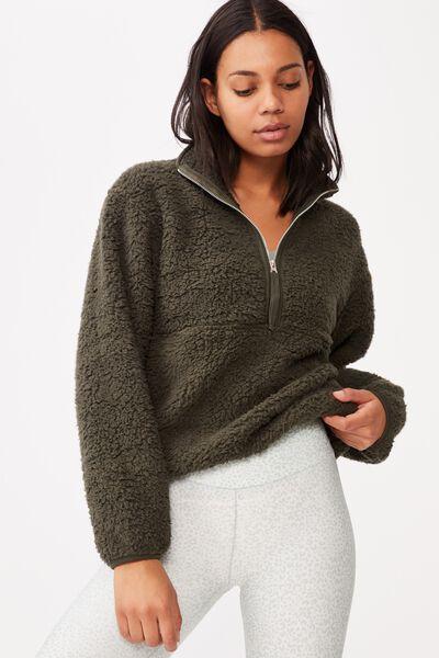 Sherpa Zip Fleece Top, KHAKI