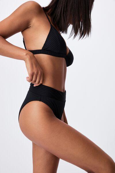 Highwaisted Cheeky Bikini Bottom Rib, BLACK RIB 21