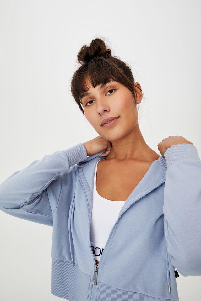 The Ultra Soft Zip Through Hoodie, BALTIC BLUE