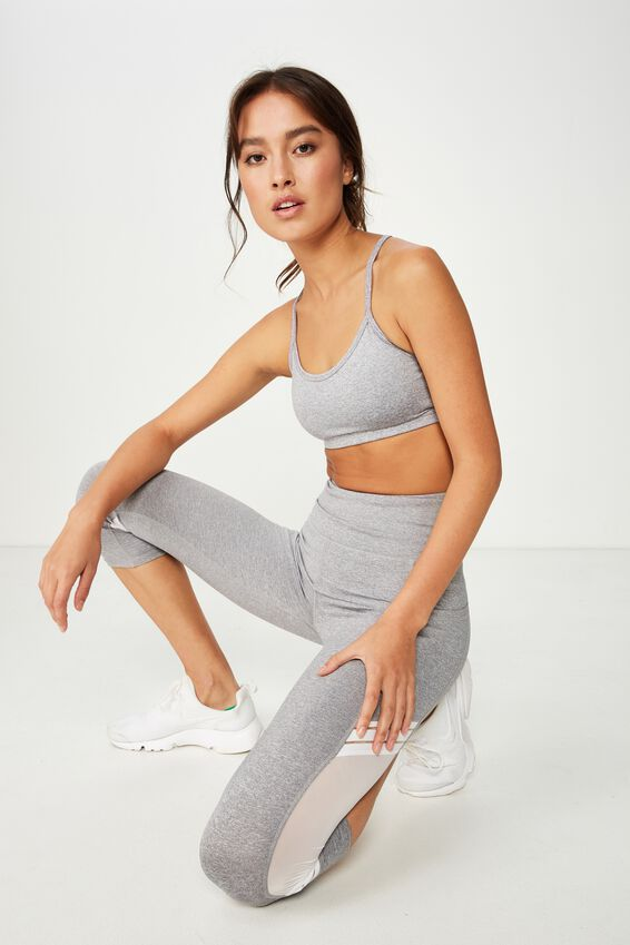 Workout Yoga Crop, MID GREY MARLE