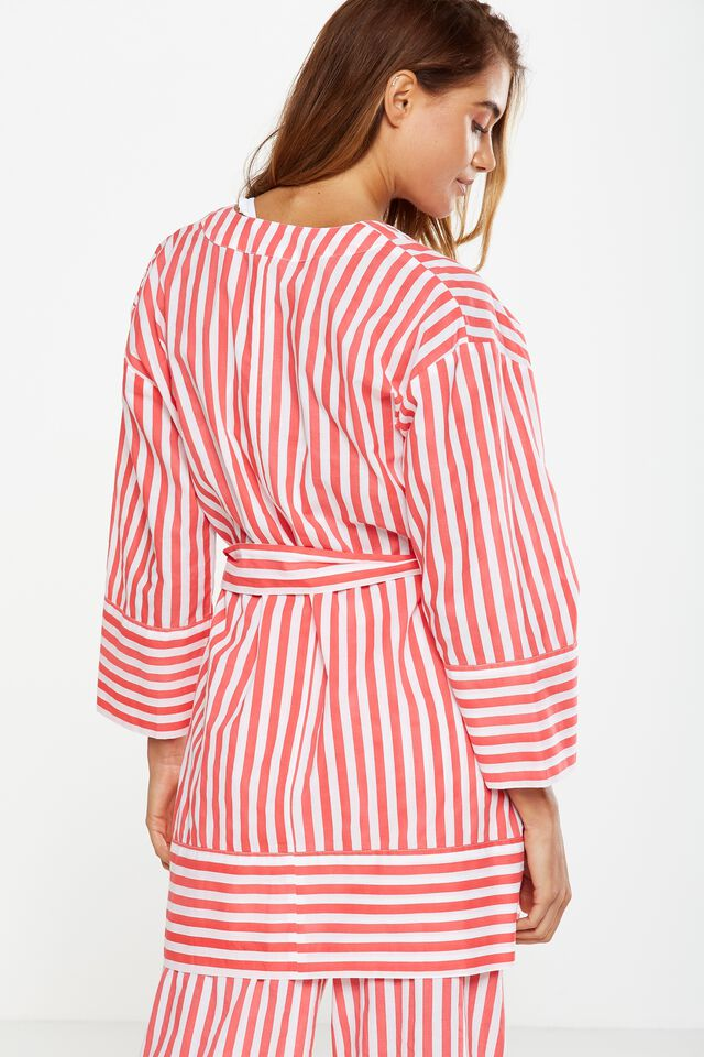 Woven Kimono1, RHUBARB BOLD STRIPE