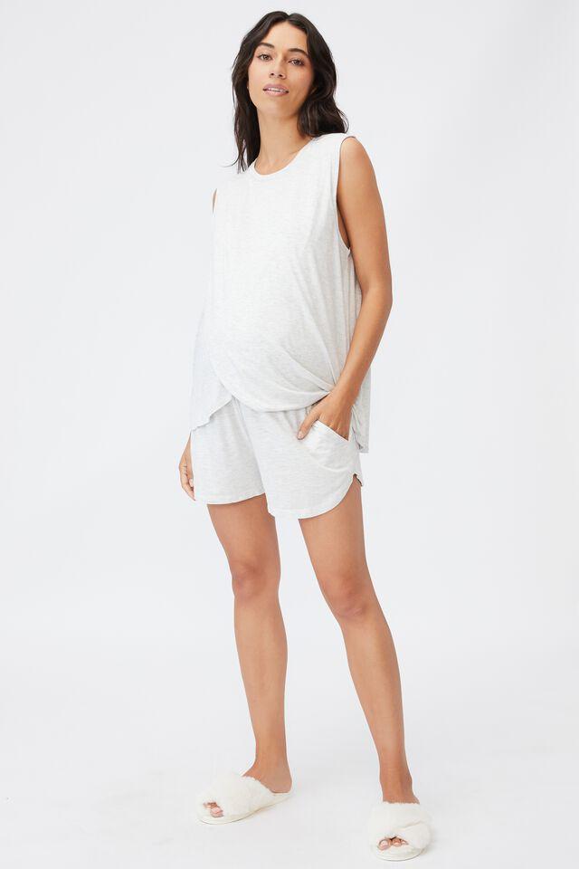 Sleep Recovery Maternity Pocket Short, SOFT GREY MARLE