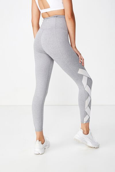 Cross Over Mesh 7/8 Tight, MID GREY MARLE/WHITE