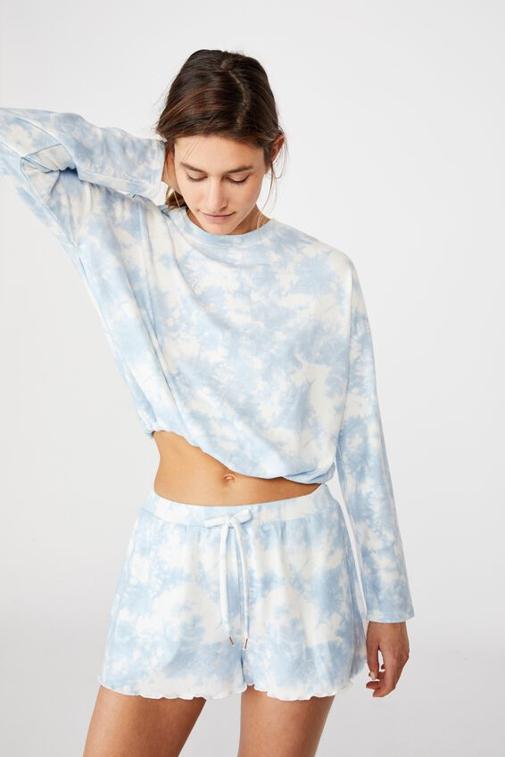 Super Soft Draw Cord Crew, BABY BLUE OMBRE MARLE