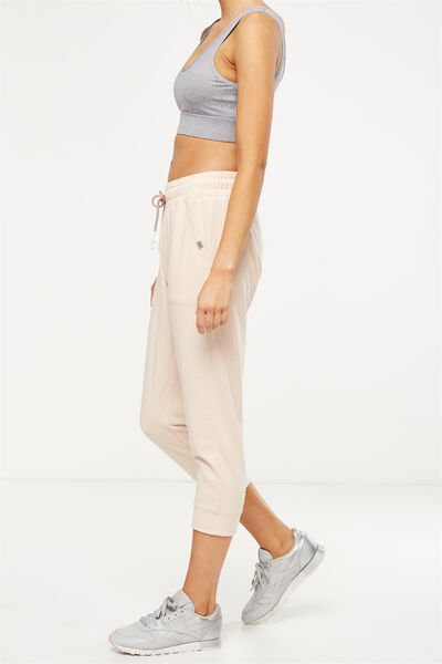 Cropped Gym Track Pants, SANDSTONE