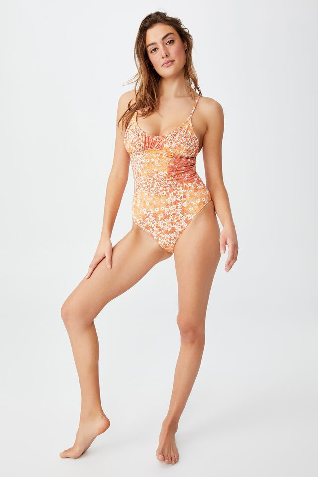 Gathered Scoop Back One Piece Cheeky, PATCHWORK DITSY ORANGE